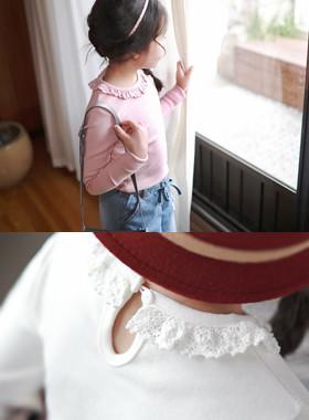 """娇小蕾丝T恤<br> <font color=""""#9f9f9f"""">♡♡可爱的蕾丝领<br>有弹性的舒适!</font>"""