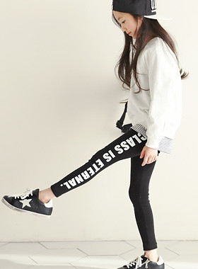 "Class Line Leggings <br> <font color=""#9f9f9f"">♡与线♡边缘<br>时尚的英文印刷!</font>"