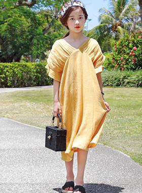 """苹果芒果连衣裙<br> <font color=""""#9f9f9f"""">♡天然褶皱袖♡ <br>最大的礼服!</font>"""