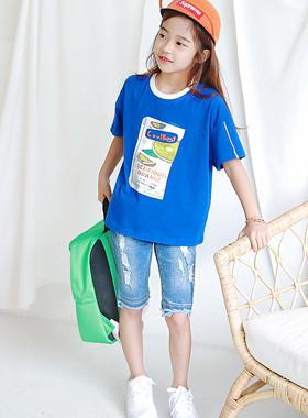 """多汁盒圆T恤<br> <font color=""""#9f9f9f"""">*真棒蓝色夏季T * <br>时尚的外观</font>"""