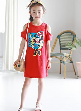 "Minichute肩部连衣裙<br> <font color=""#9f9f9f"">♡可爱的迷你鼠标字符♡ <br>玫瑰红的肩部设计!</font>"