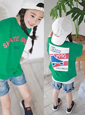 """滑冰T恤<br> <font color=""""#9f9f9f"""">*鲜鲜绿色* <br>复古插画印刷</font>"""