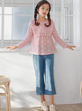 Momo牛仔布宽裤