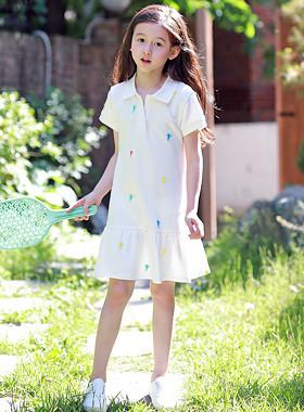 Tinkerbell刺绣领连衣裙