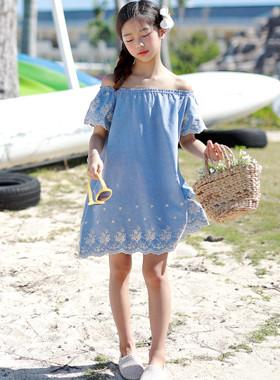 Yomi刺绣褶皱连衣裙