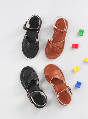 条纹交叉凉鞋