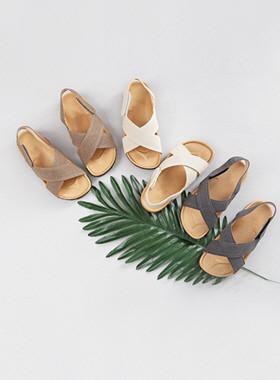 亚麻布凉鞋