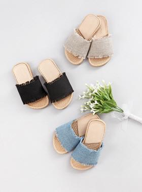 木制亚麻拖鞋